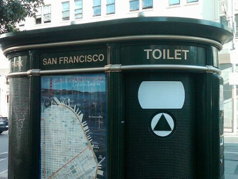 san francisco public toilet located on a city street