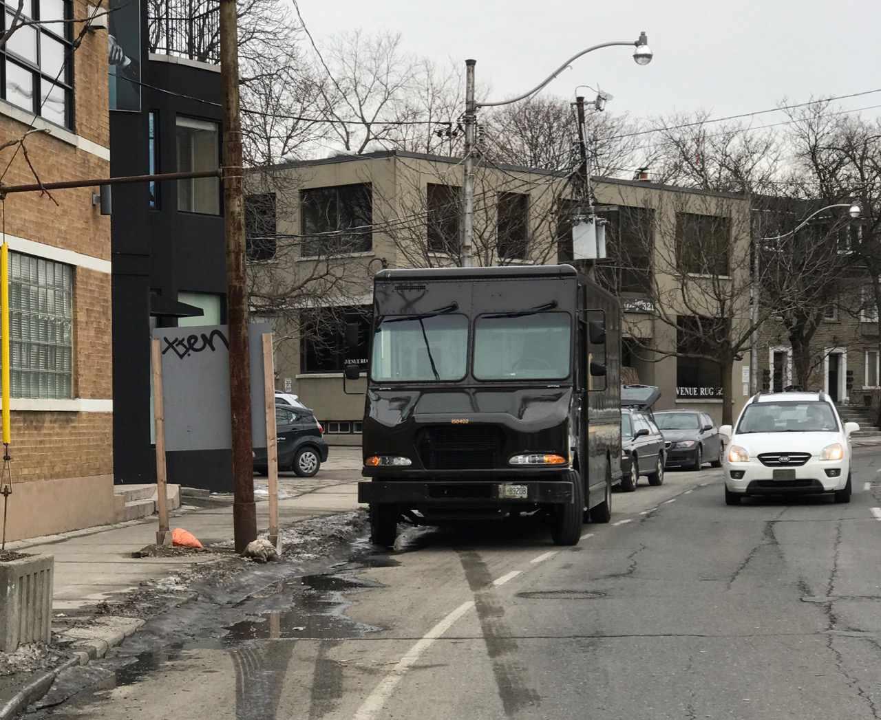 UPS in the bike lane, Davenport Road