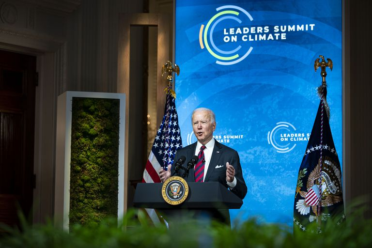 President Joe Biden givens opening remarks at the Earth Day 2021 Leaders Summit on Climate
