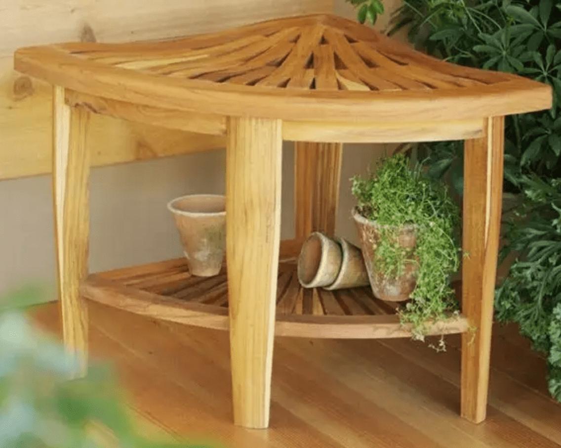 Gardener's Supply Company Teak Corner Stool