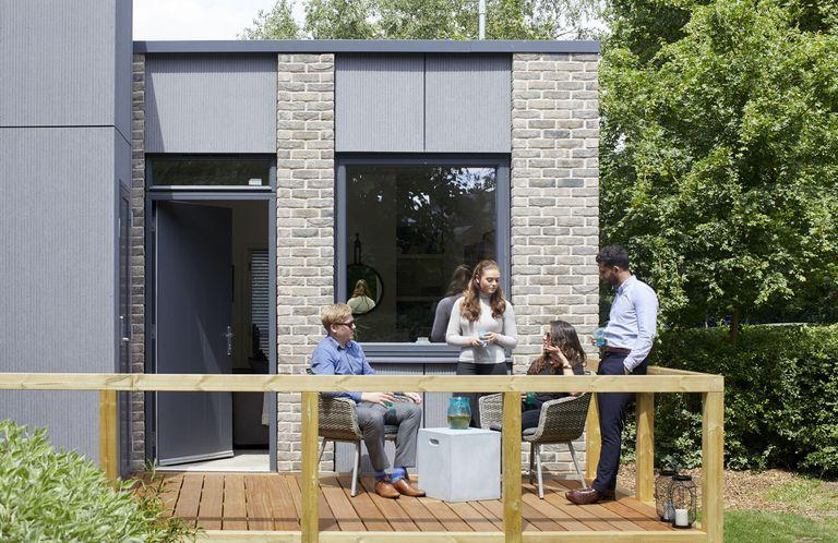 Prefabricados Passivhaus CLT Tiny Homes en construcción en Gran Bretaña