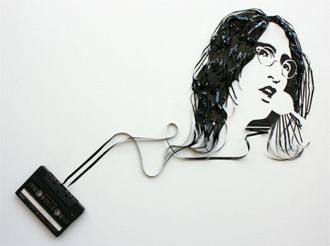 cassette tape art lennon photo