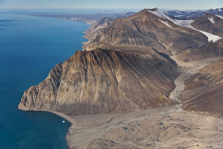 Barren mountains overlook the coast at Sirmilik National Park