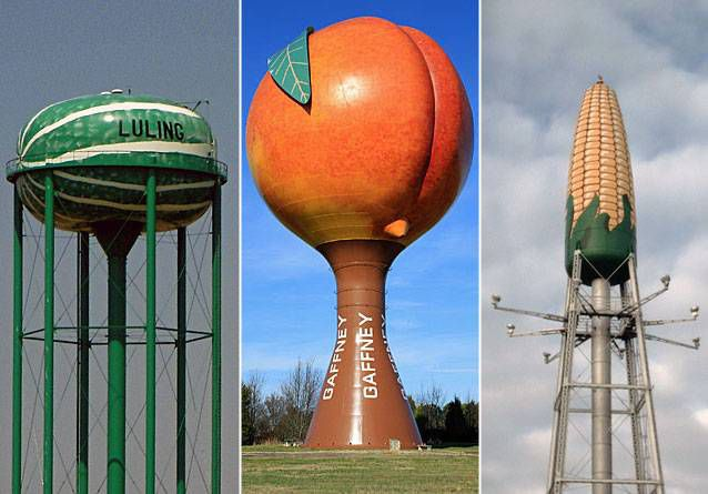 Water towers shaped and painted as food