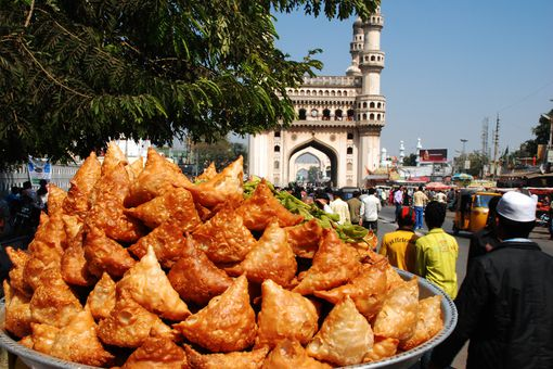 a tray of samosas in India
