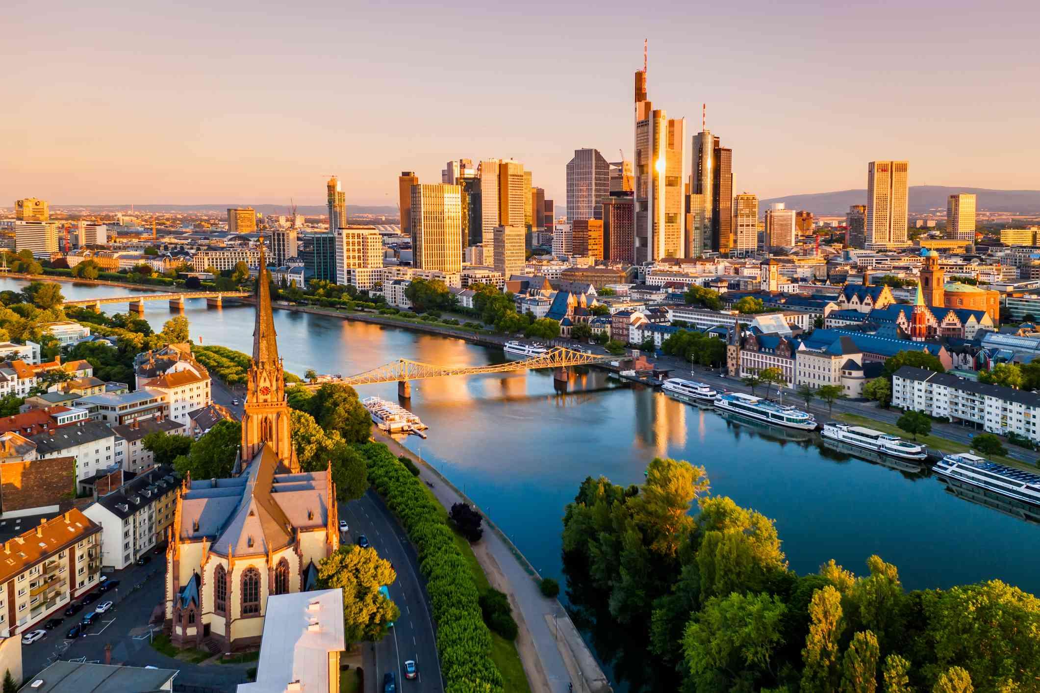 The city of Frankfurt, Germany at sunrise