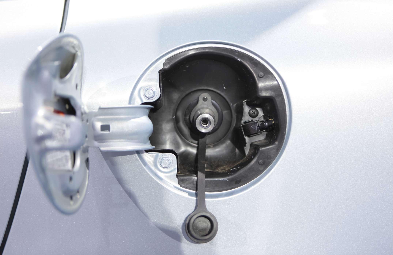 Compressed natural gas fuel door