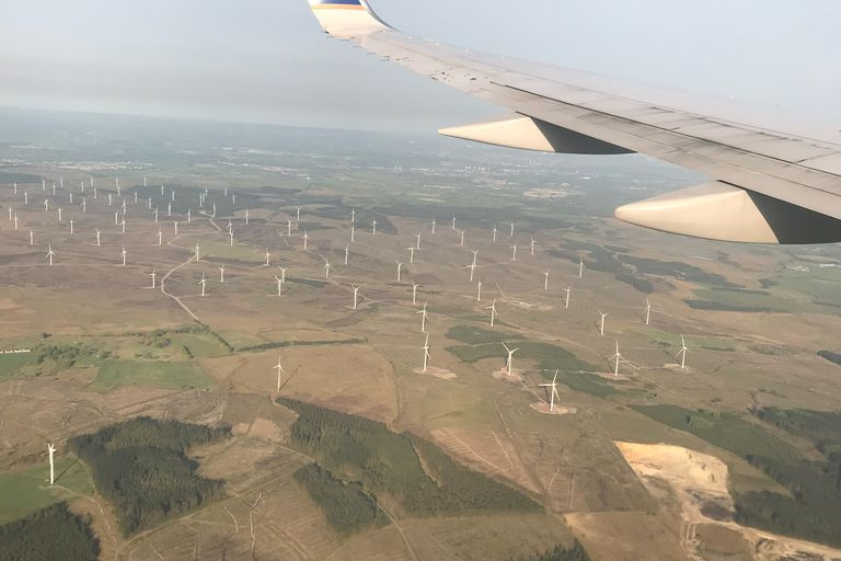 Flying over Scottish Wind Farm