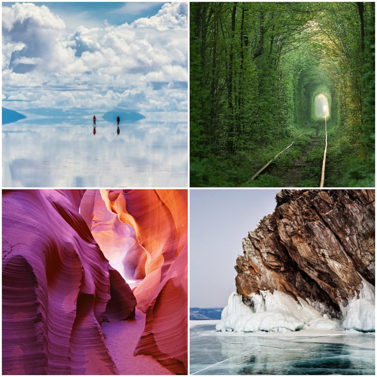 Four images of amazing natural landscapes: reflective water, tunnel though trees, colorful rock formations and the surf breaking against a cliff.