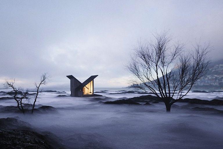 El refugio de montaña es un objeto de deseo de madera prefabricado