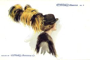 Woman wearing a hat with ostrich feather