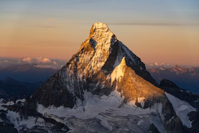 Aerial view of Matterhorn and surrounding snow-capped peaks