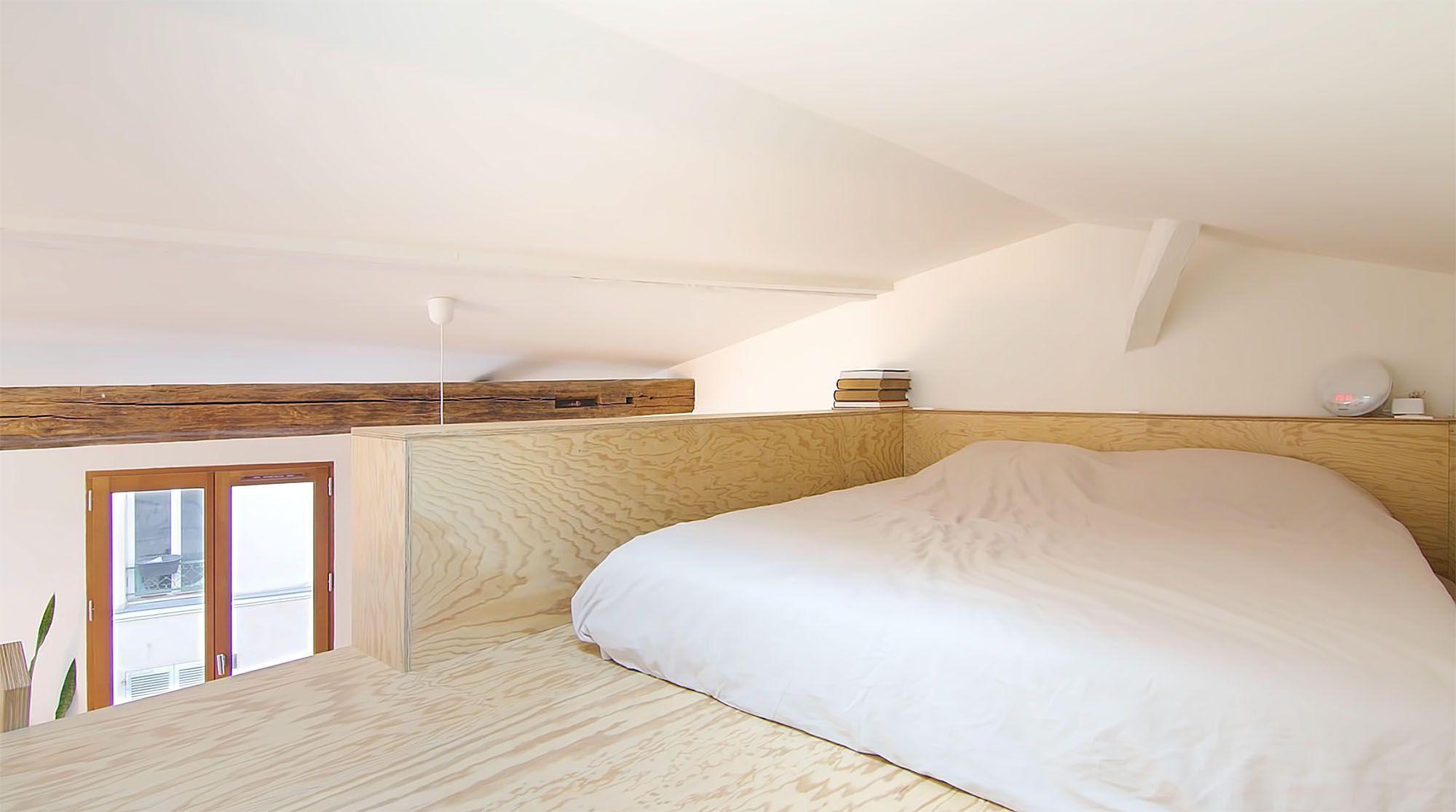 Jourdain micro-apartment renovation Matthieu Torres sleeping mezzanine