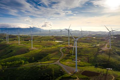 Wind turbine from aerial view in morning