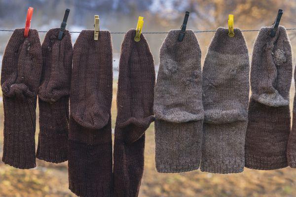Wool socks hanging on a line