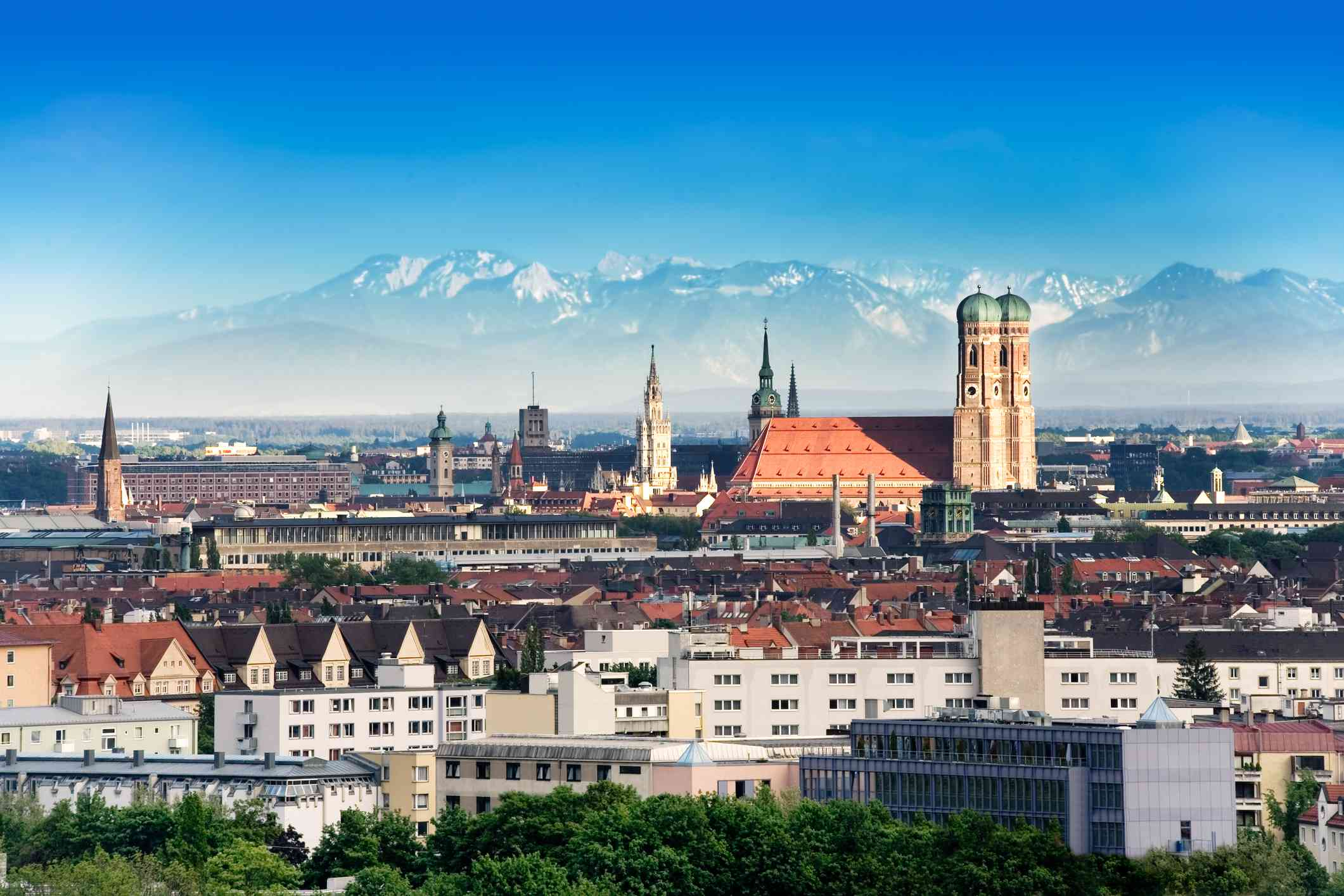 Munich, the capital of Germany, with the alps in the background