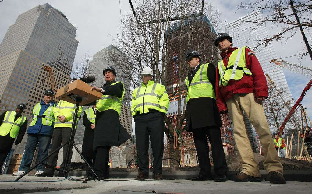 New York Mayor Michael Bloomberg speaks at a ceremonial planting of the a tree at 9/11 site.