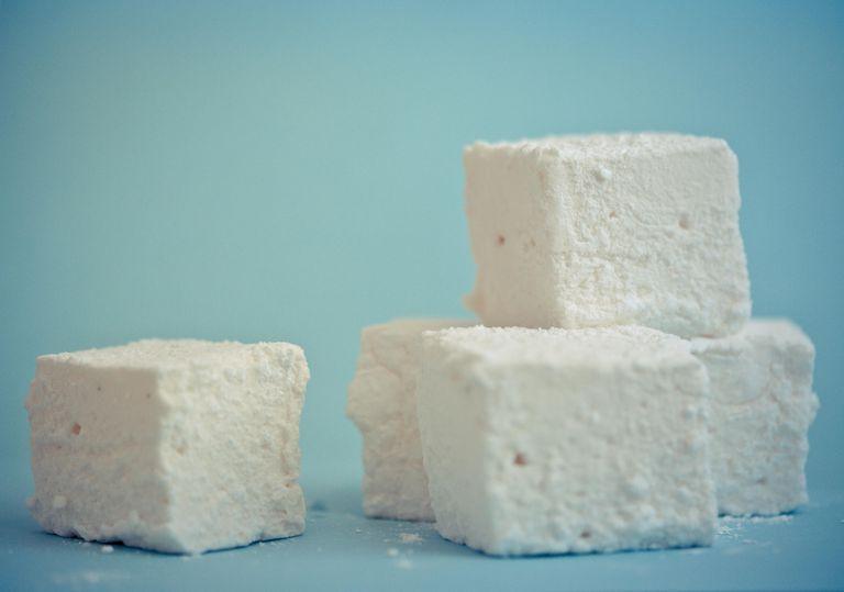 Homemade mashmallow cubes