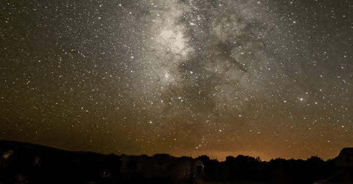 The Milky Way sets over the Cosmic Campground, New Mexico