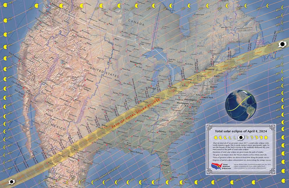 The path of the 2024 total solar eclipse will take it from Mexico through Texas, Kentucky, Ohio, New York and Maine
