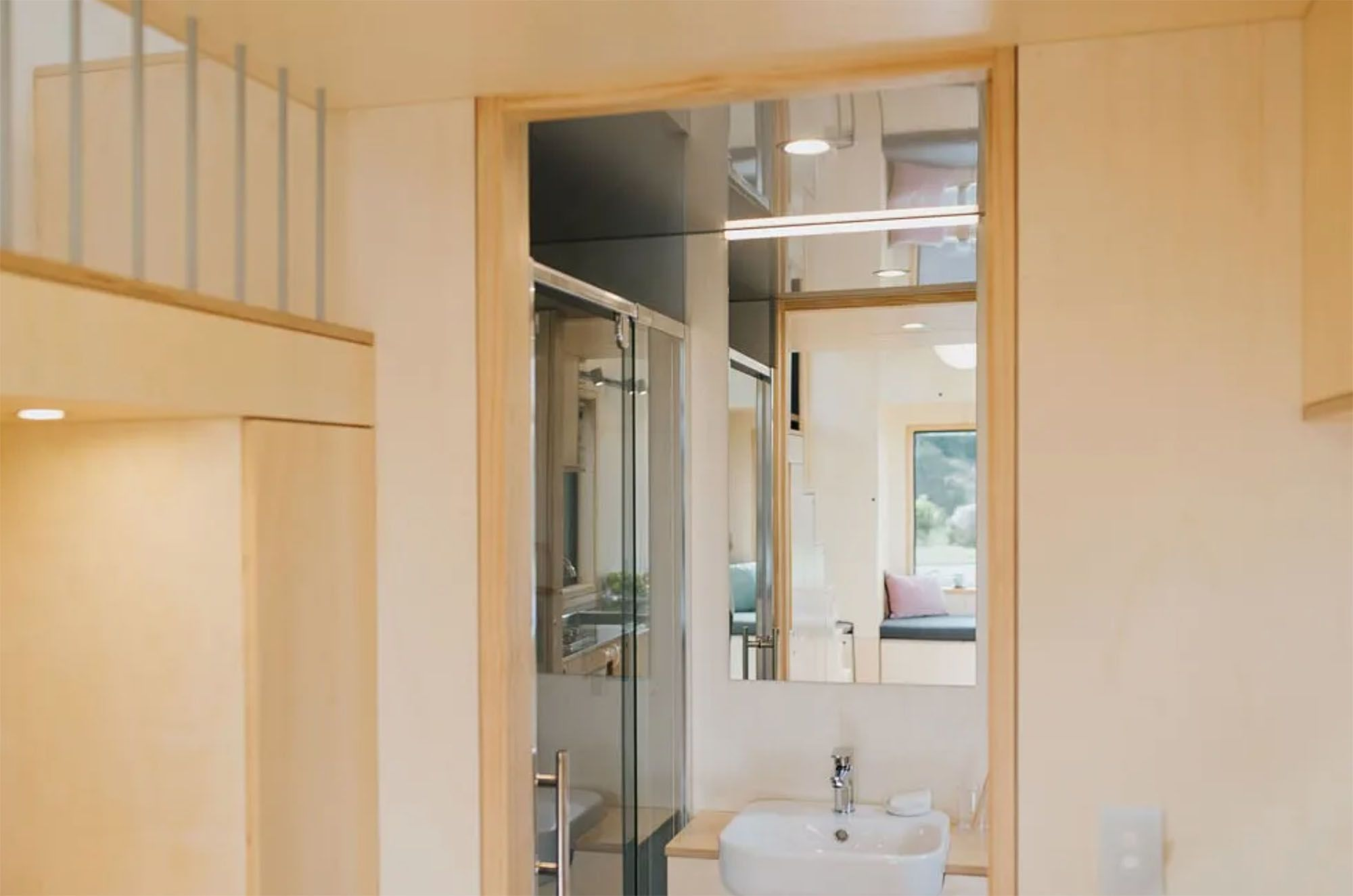 Ohariu tiny house by First Light Studio and Build Tiny bathroom