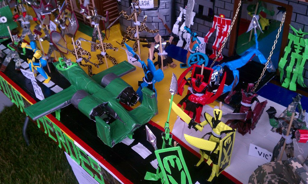 army of homemade toys made with duct tape