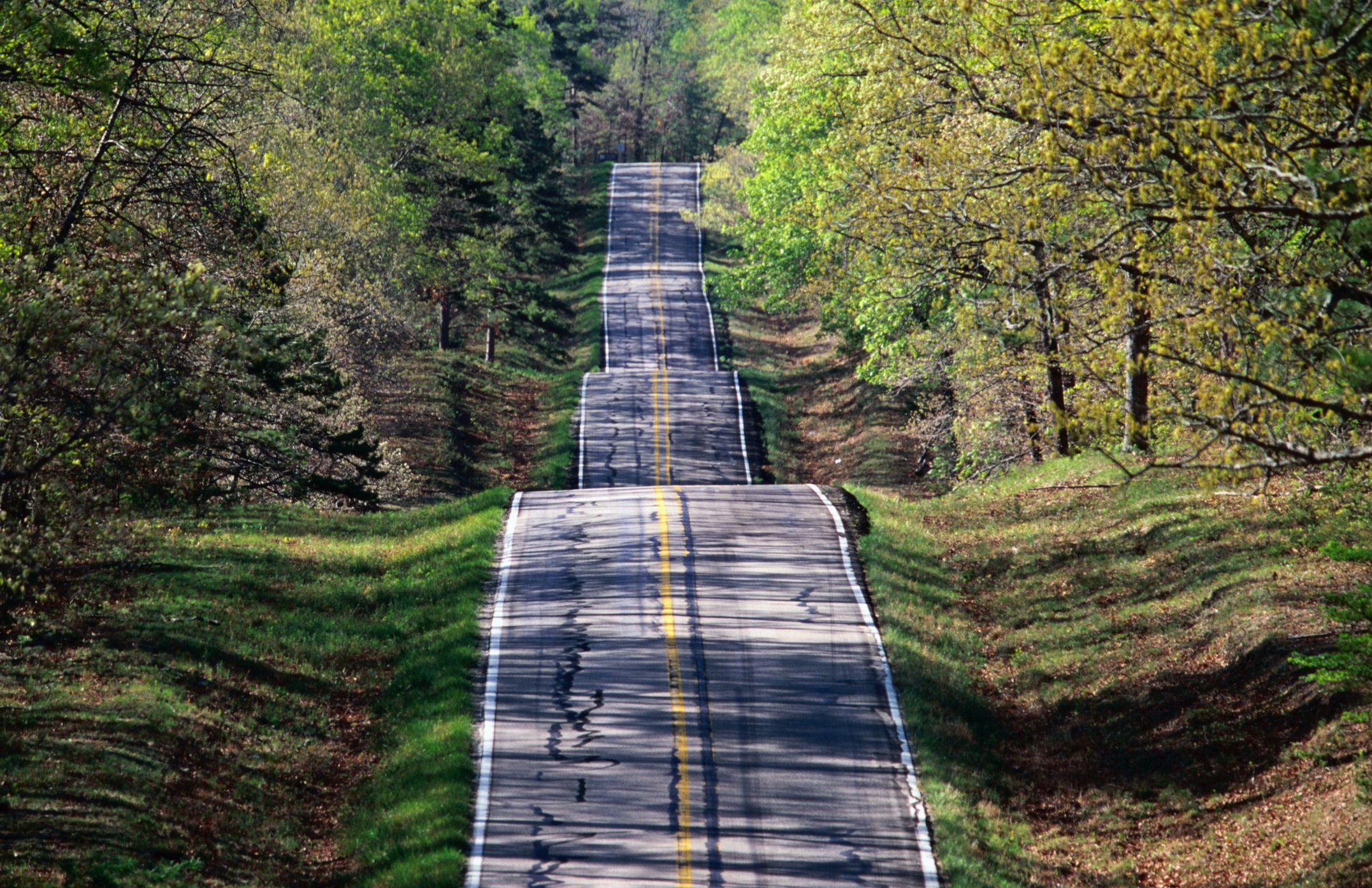 Highway 19 through Mark Twain National Forest in Missouri