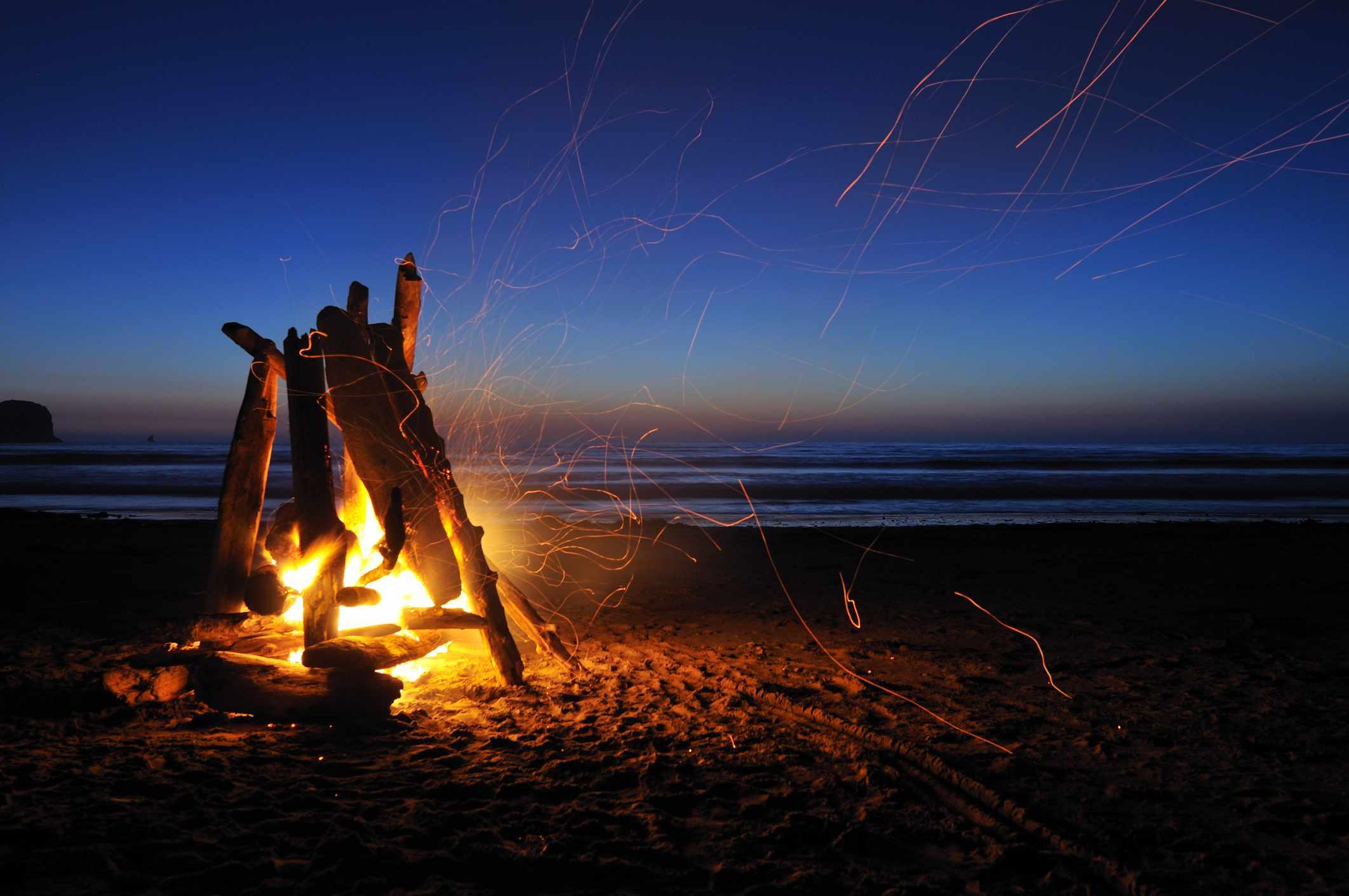 Campfire on a beach
