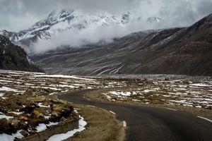 The Himalayan roads of North Sikkim near Gurudongmar Lake at 17000 feet, Lachen, Sikkim, India