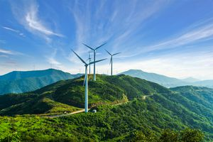 Wind turbines against blue sky in Zhoushan, Zhejiang province,China.