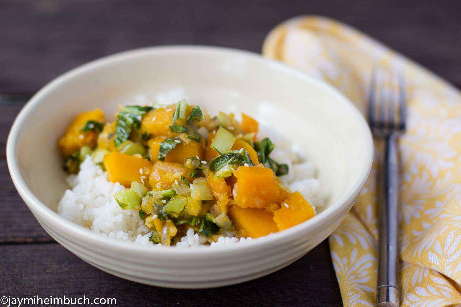 braised butternut and bok choy photo