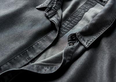 Close up of Men's tencel shirt.