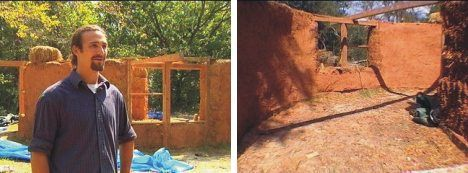 Straw bale and mud house under construction in Texas photo