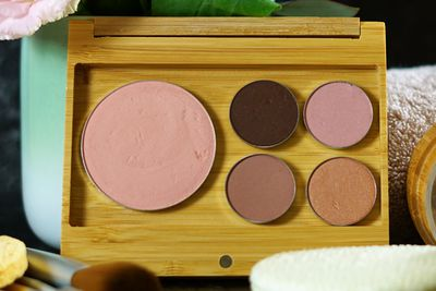 Eye shadow and blush in a bamboo makeup palette