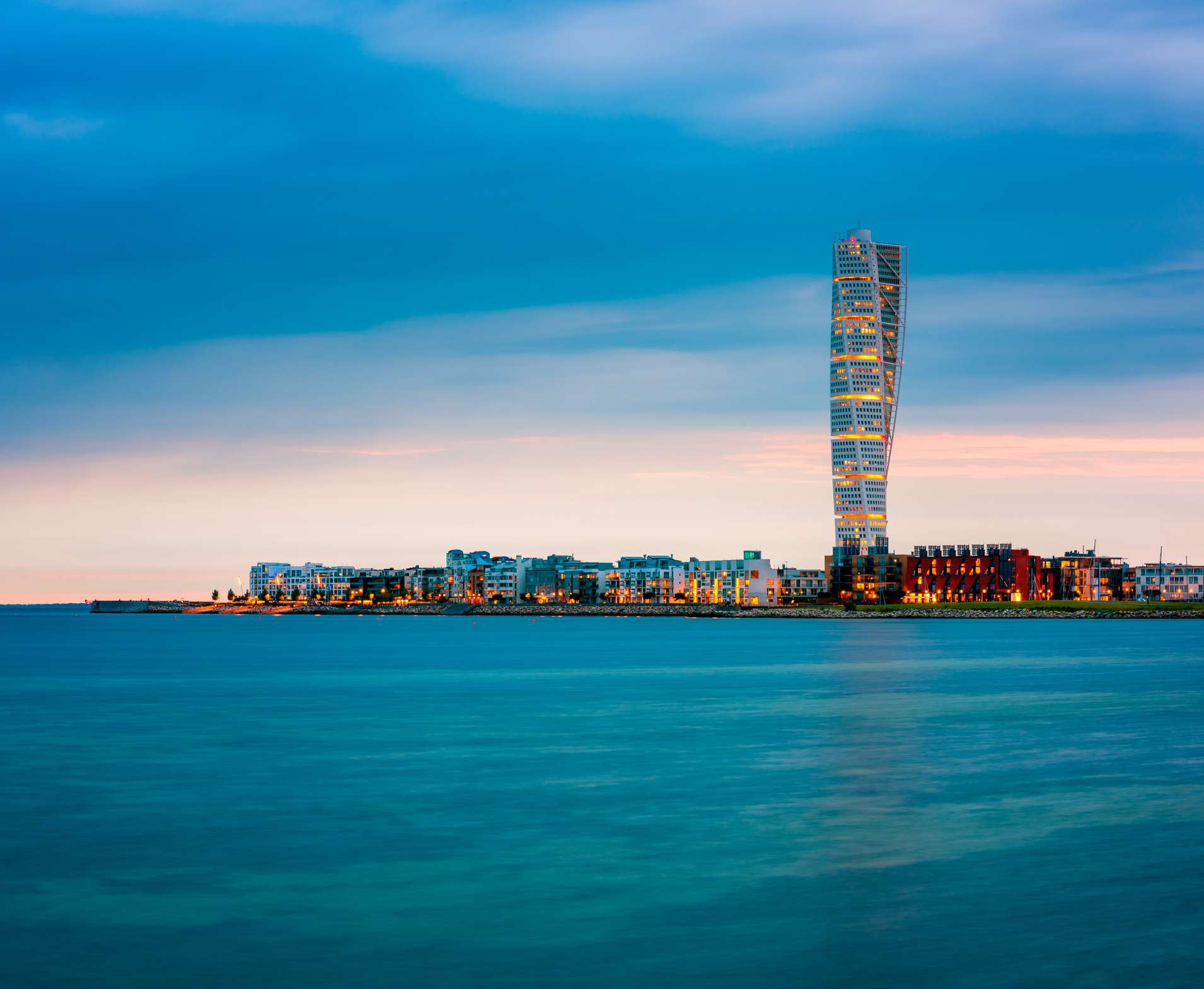 Skyline of Malmo, Sweden with the Turning Torso Building