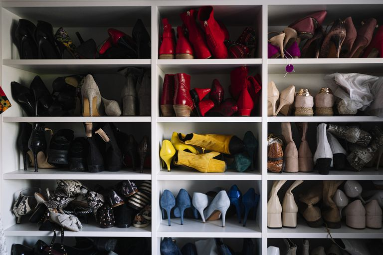 closet shelves filled with women's shoes
