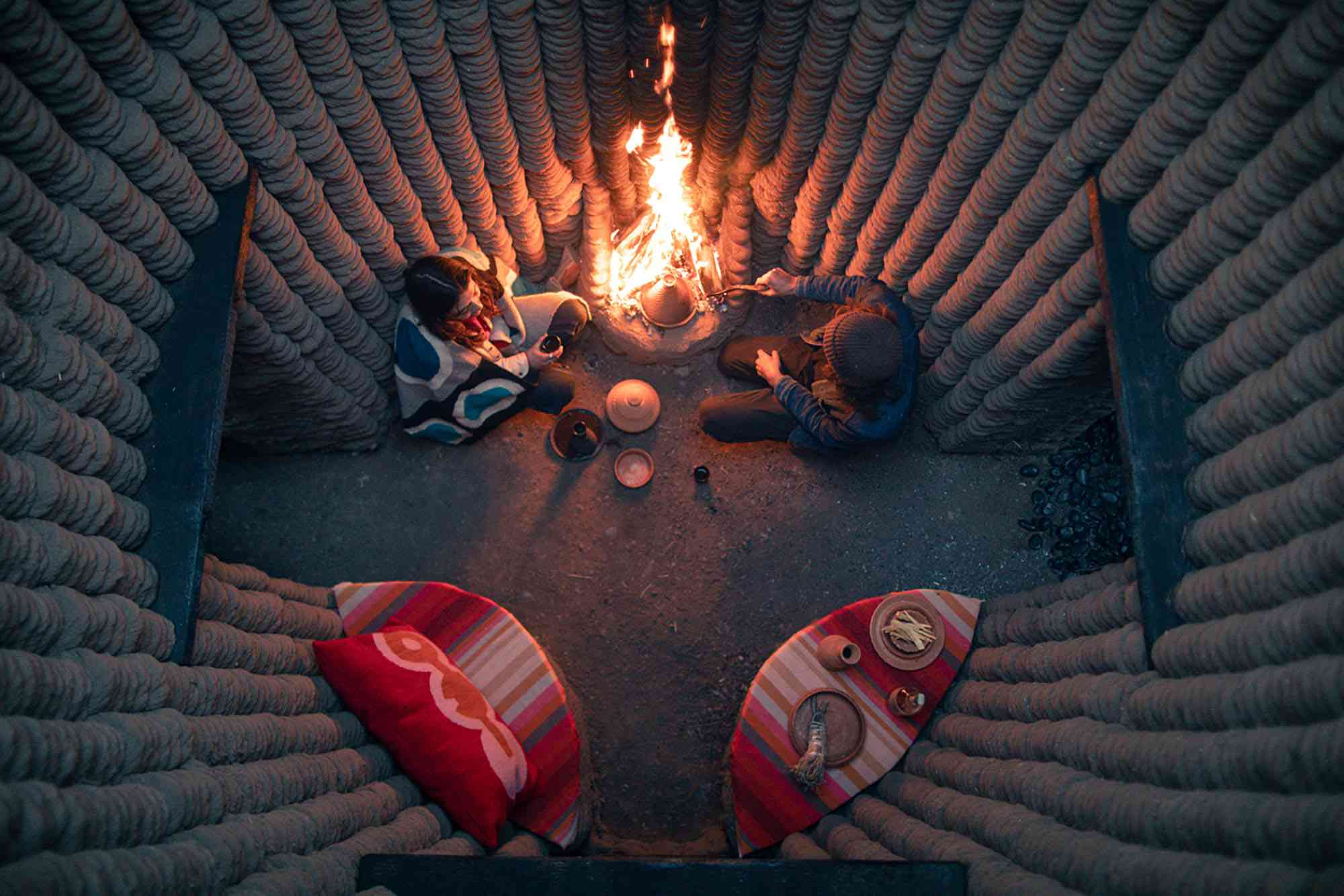 Casa Covida 3D printed adobe house by Emerging Objects central space