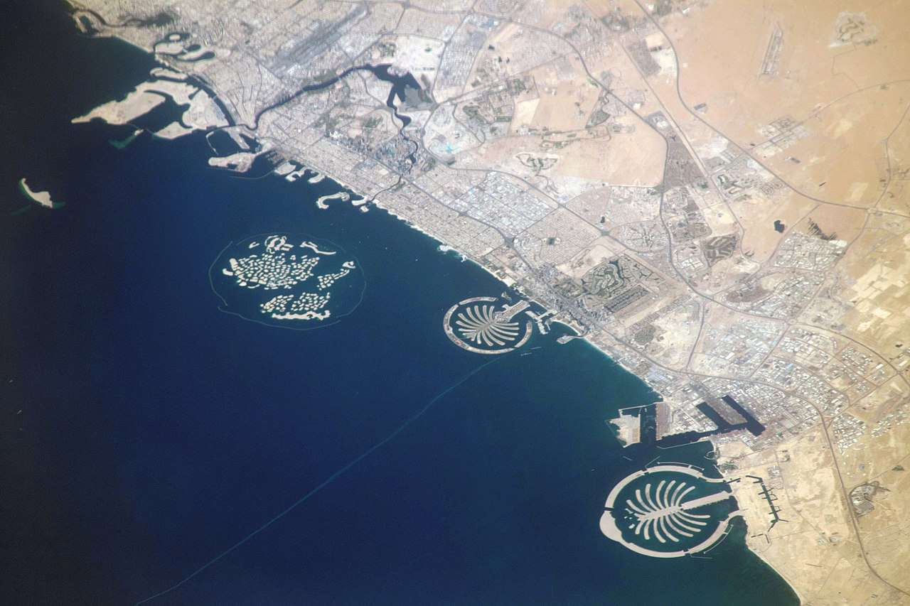 View of Palm Islands from 255 miles above Saudi Arabia