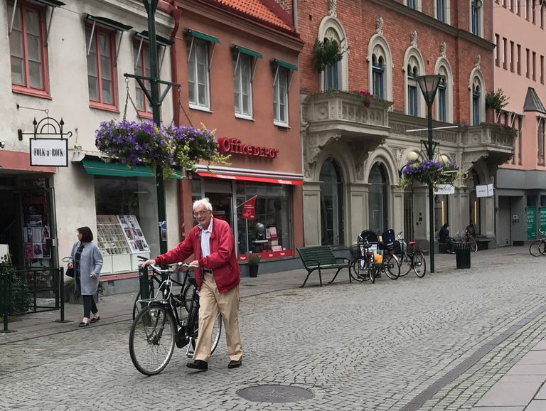 Cyclist in Malmo Sweden