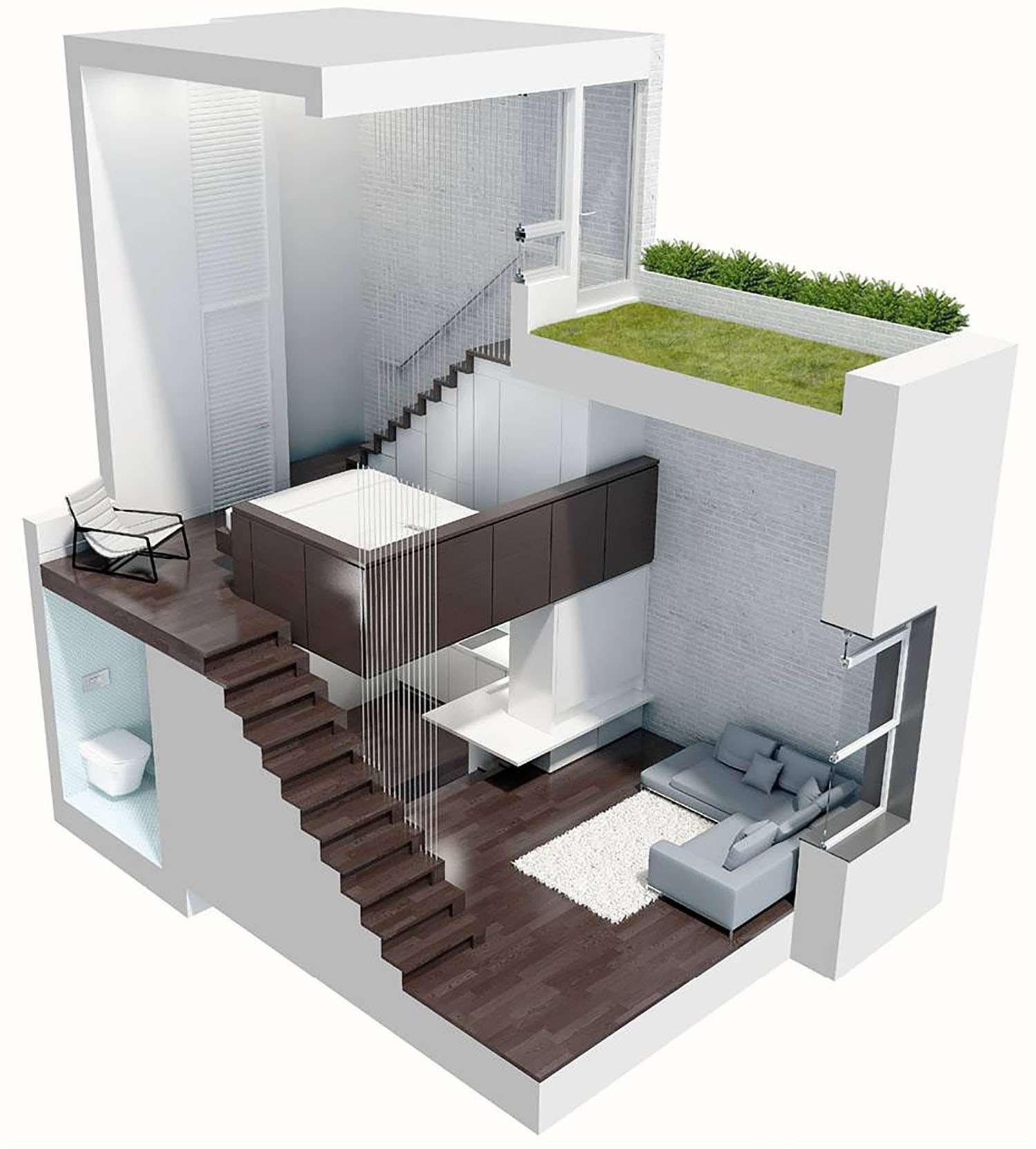 manhattan microloft specht architects axonometric rendering
