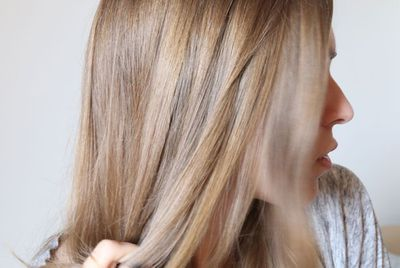 Close up of woman's shiny hair