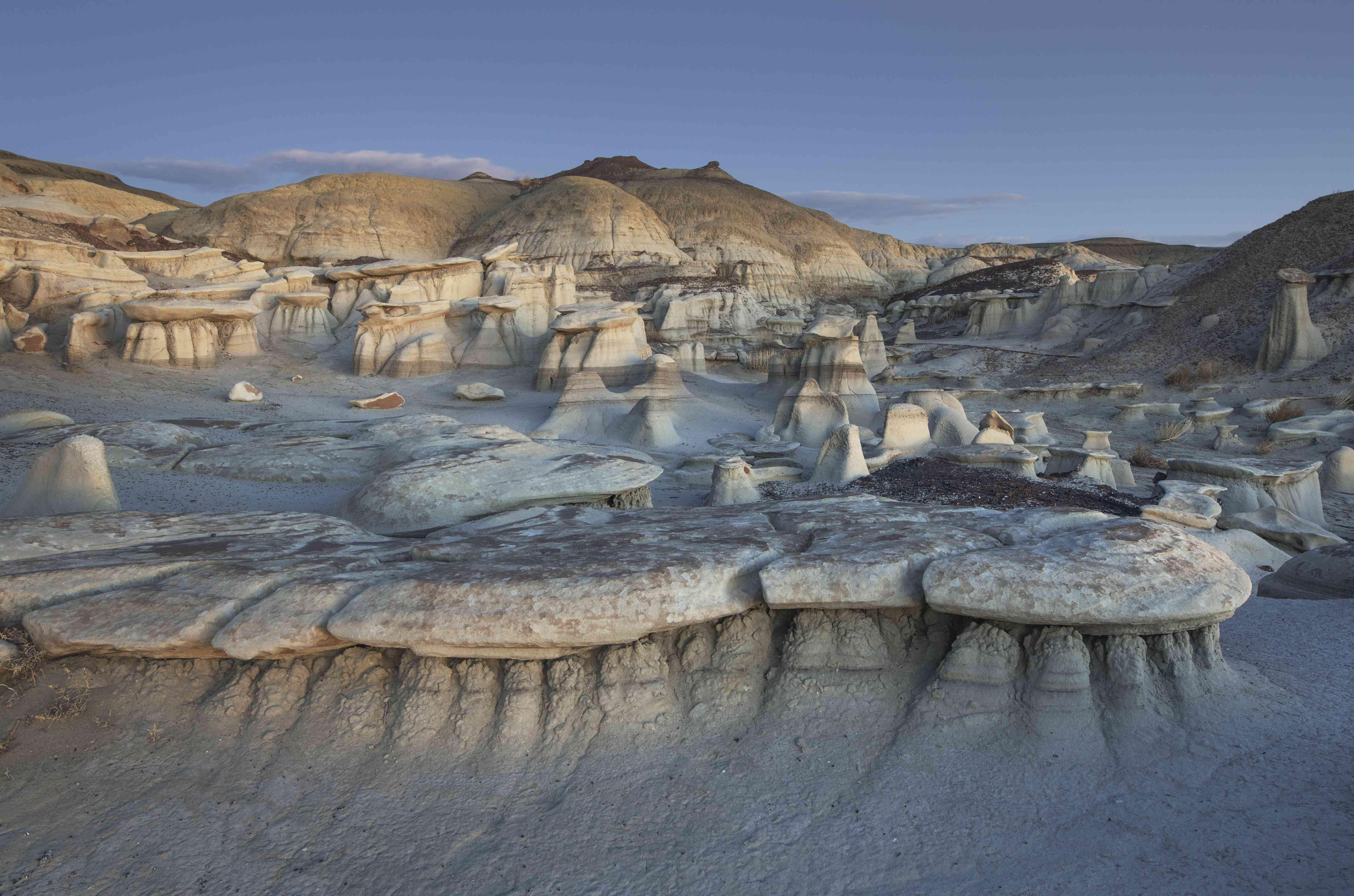 Hoodoos scattered across the desert in Bisti Badlands