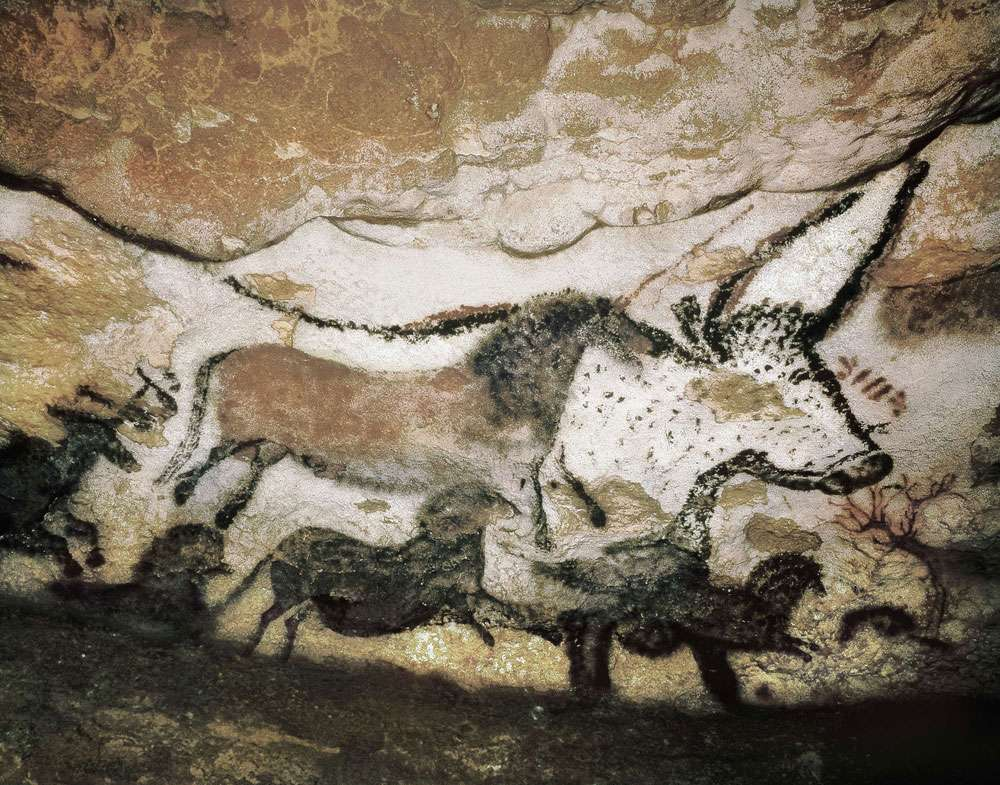 A cave painting of an animal in the Lascaux Caves