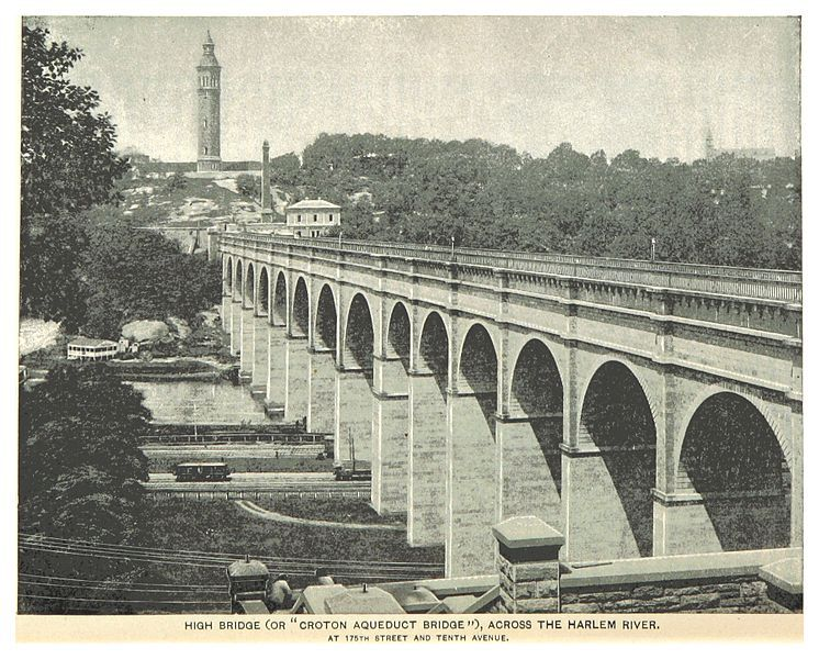 A historical image of High Bridge, NYC