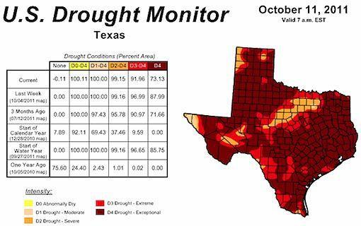 texas drought october 11 2011 map