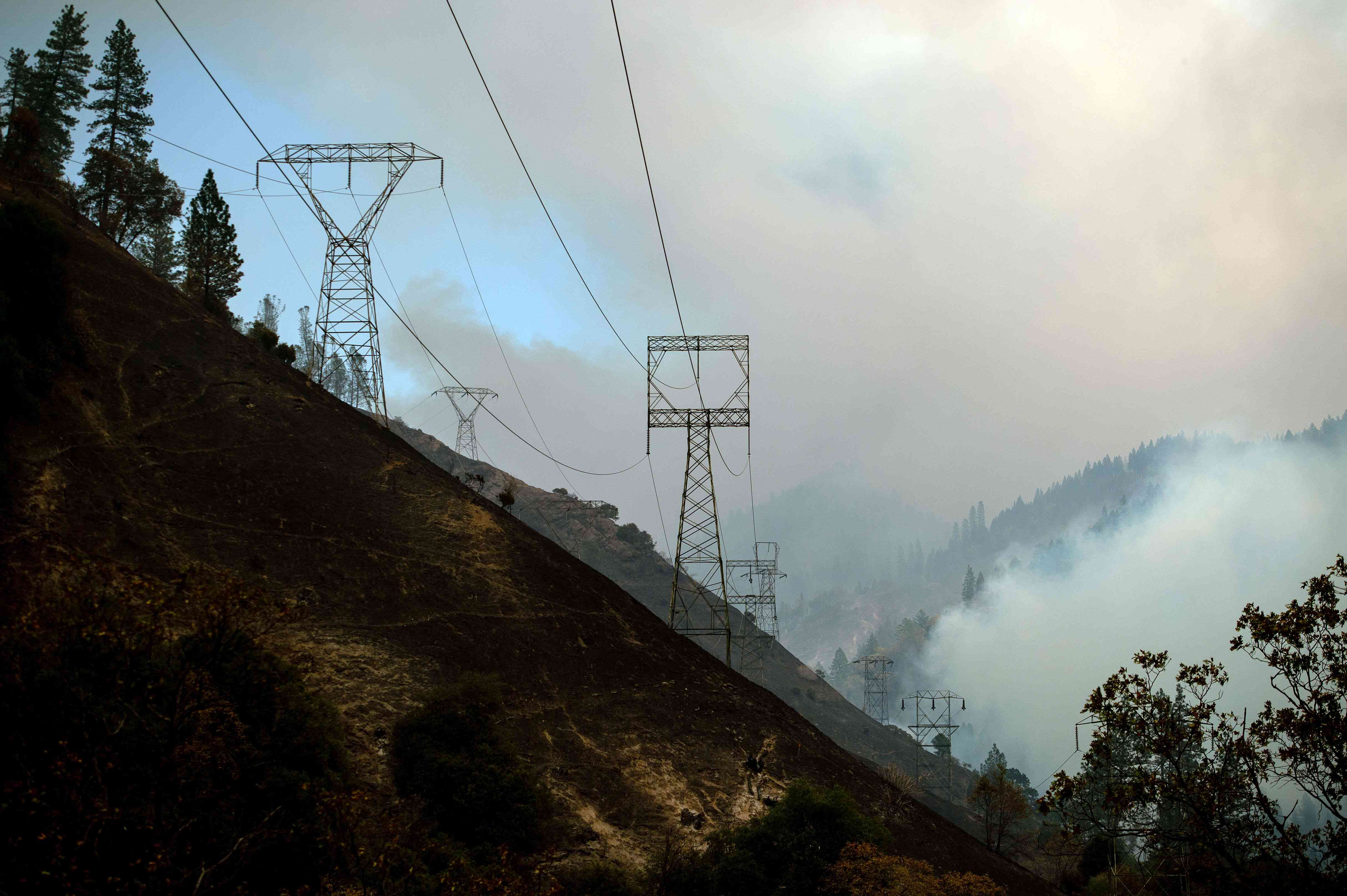 Butte County, California, power lines and wildfire