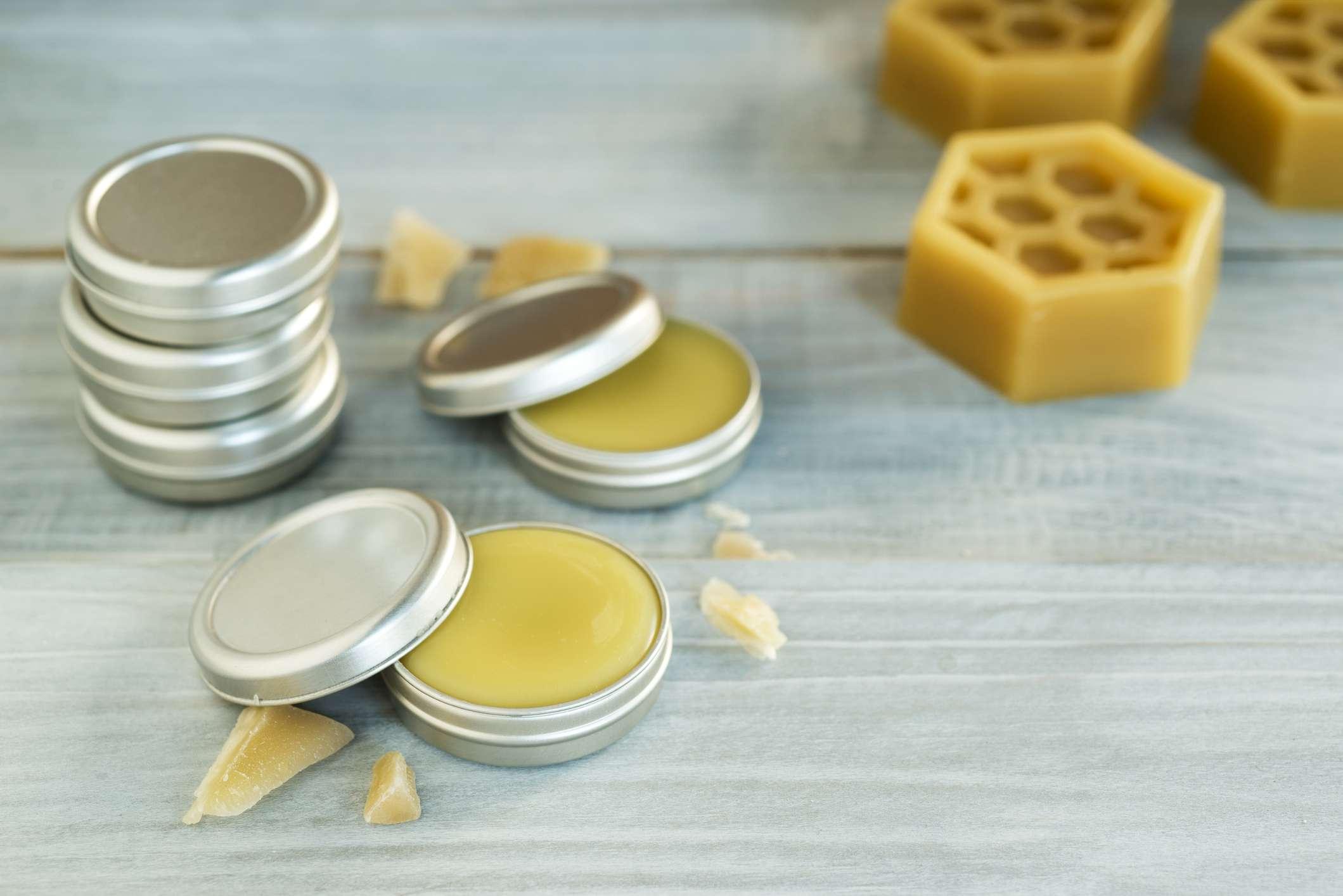 Beeswax base soothing homemade lip balm.