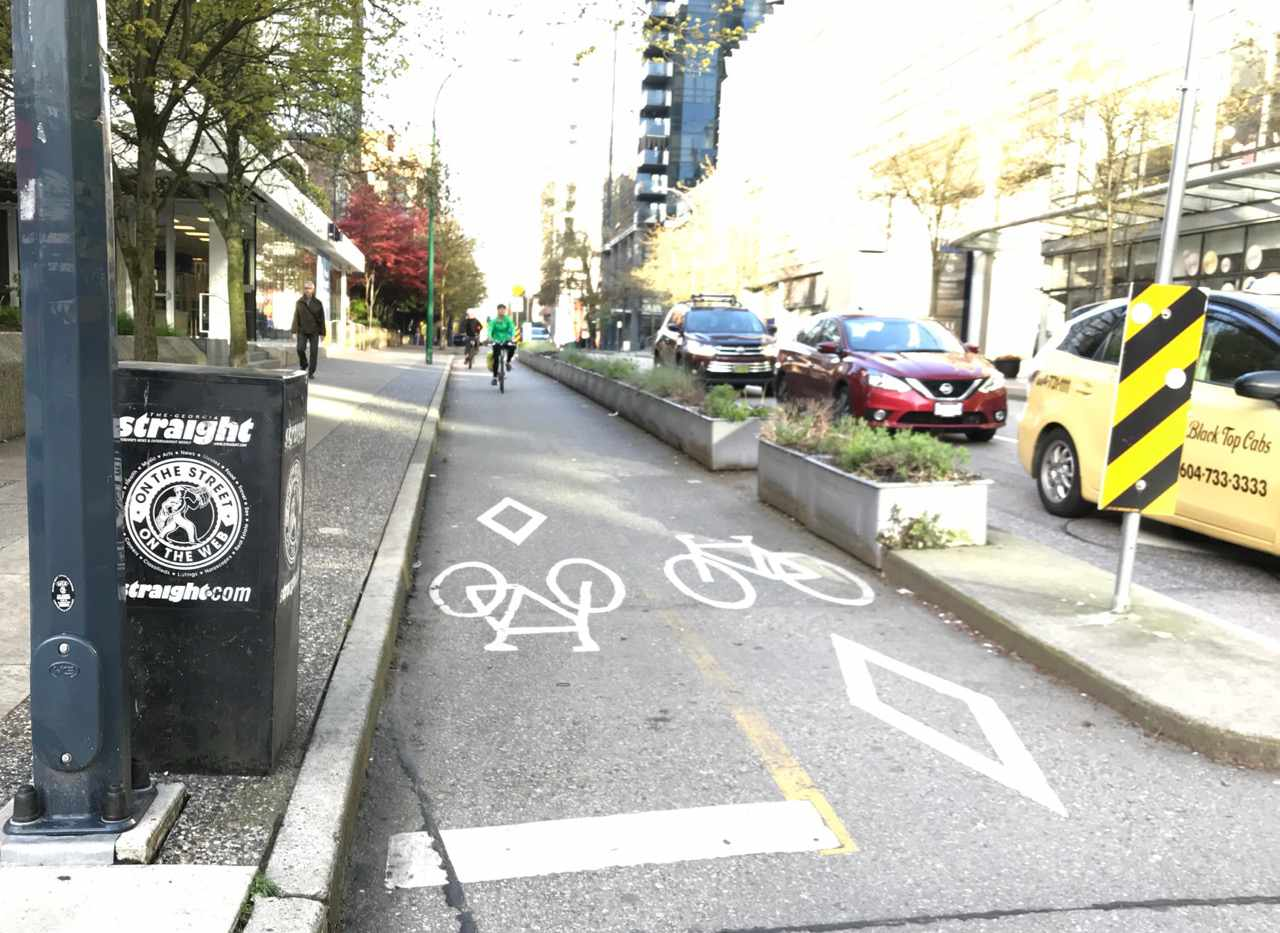 protected bike lane on Hornby Street, Vancouver