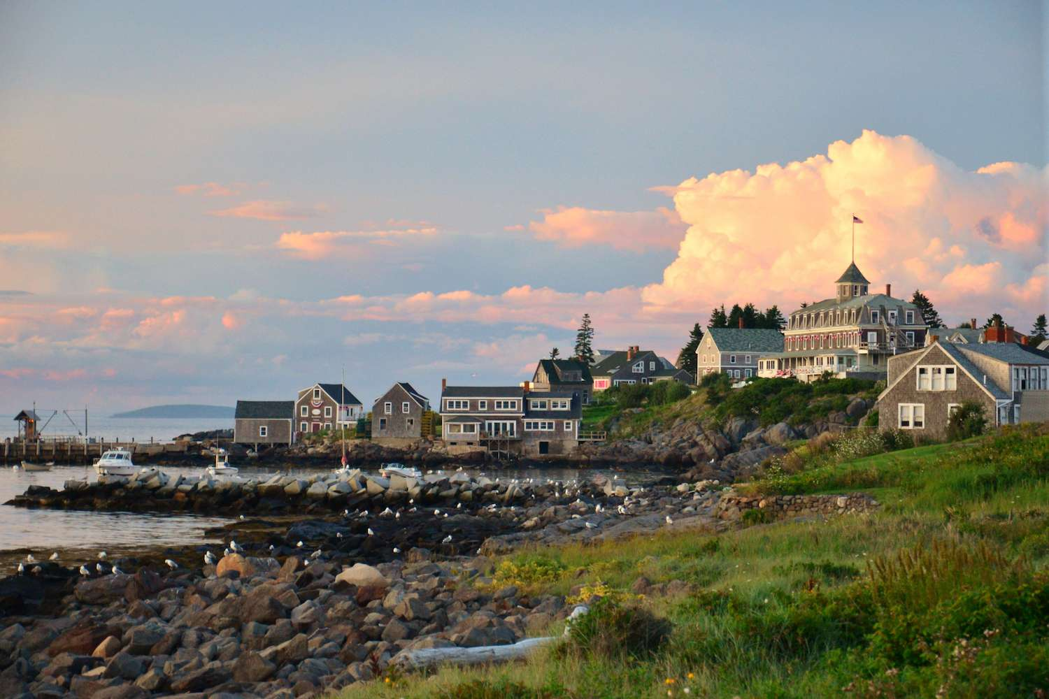 The sun sets on the houses of the picturesque Monhegan Island