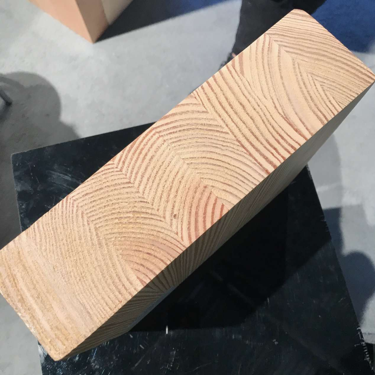 Block of pale striped wood